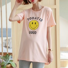 New Solid Color Pinting Letter Smiley Face Maternity T Shirt Loose Long Tops Summer Casual Korean Side Slit Pregnancy Clothes