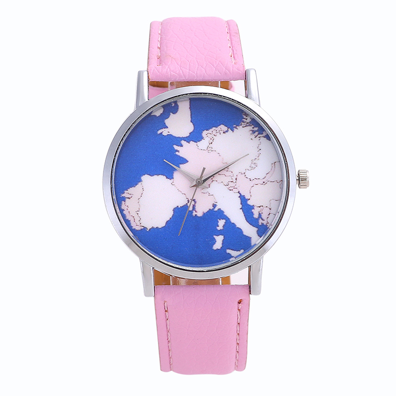 New Men /women Watches Steel World Map Pointer Stainless Steel Dial Solid Color High Quality Fashion Student Leather Watch
