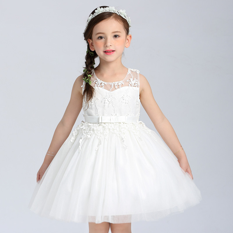2017 Quality Baby Girl Pure White Dress For Party Host Or Dance Performance Ball Gown Sweet