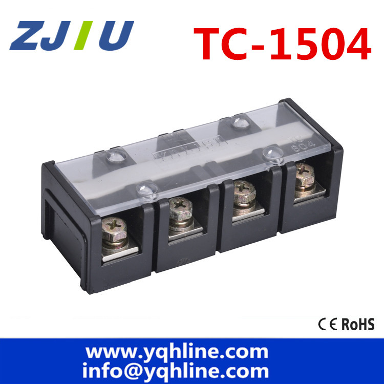 TC-1504 Fixed Terminal Block 600V 150A 4P large current Terminal blocks Universal Covered Barrier Screw copper wiring board 5 pcs 600v 45a 4 positions 4p dual rows covered barrier screw terminal block