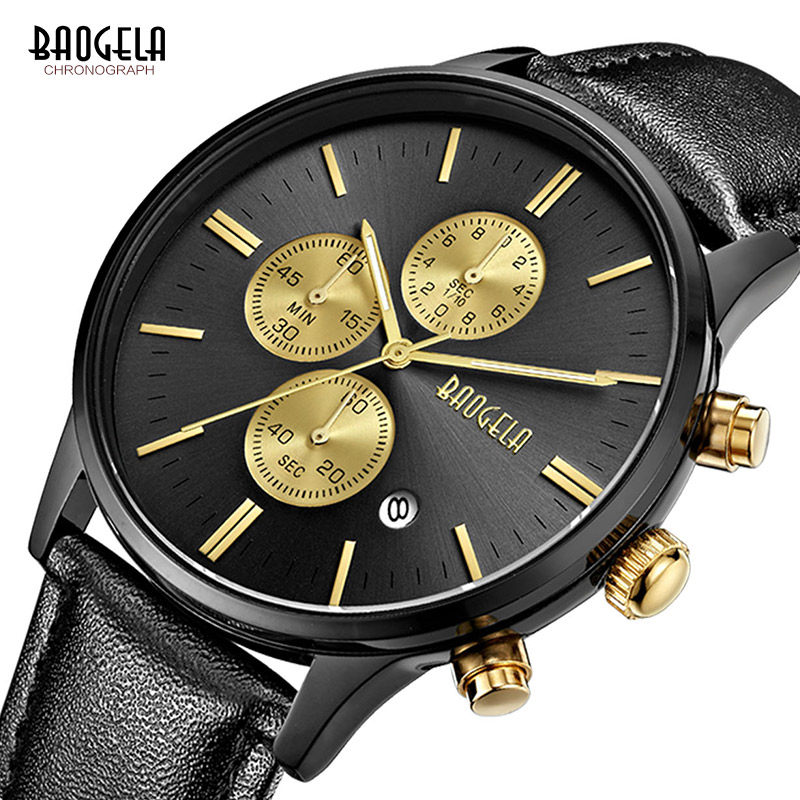 Baogela New Top Luxury Watch Brand Men's Watches Black Leather Band Quartz Wristwatch Fashion Casual Watches Relogio Masculino