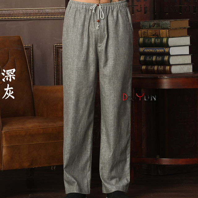 New Arrival Chinese Men's Kung Fu Trousers Cotton Linen Kung Fu Pant Tai Chi Pants Wu Shu Pants Size M L XL XXL XXXL W35