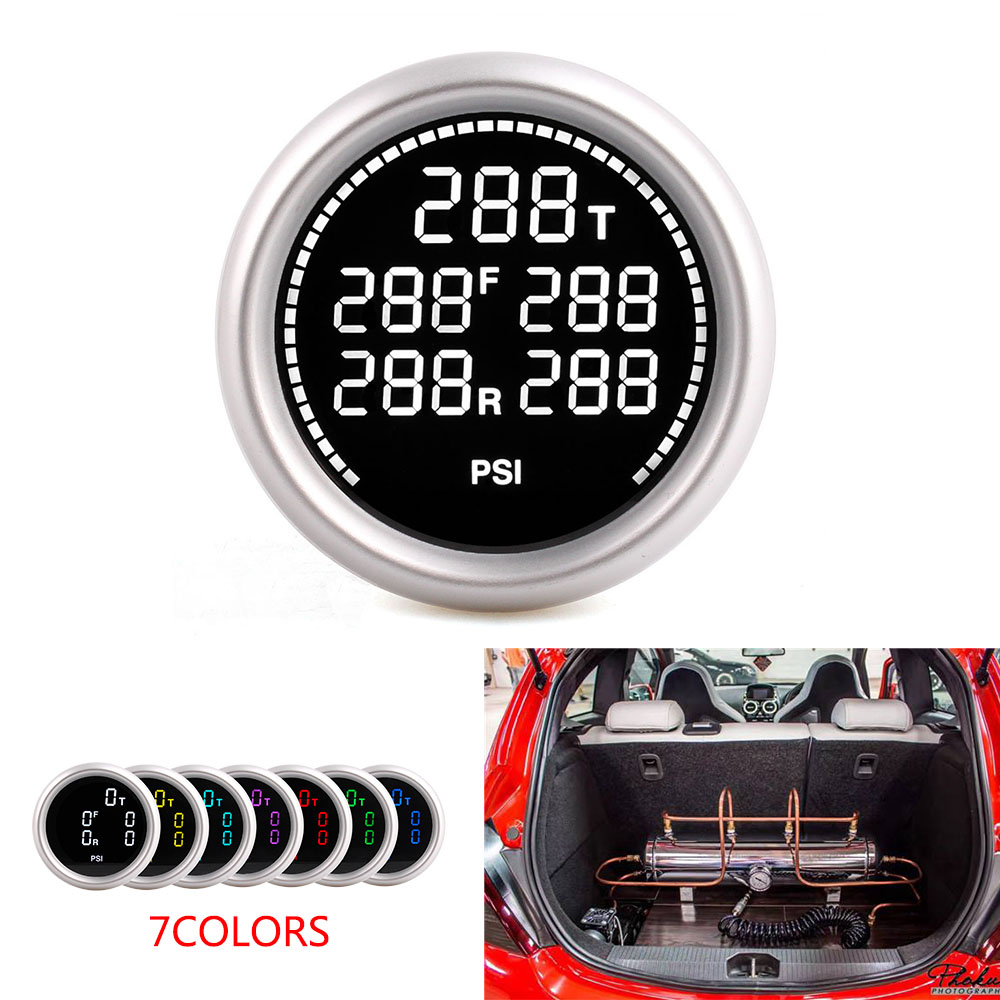 2Inch 52mm 7Colors Air Suspension Pressure Gauge Both Bar and PSI Air Ride Gauge With 5pieces