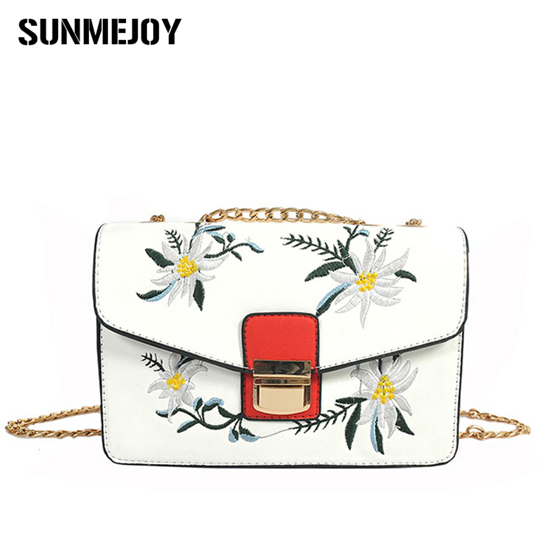 SUNMEJOY Flowers embroidery Flap national Bag Fashion Female Chains Messenger Bag Women Crossbody Bags lock Shoulder