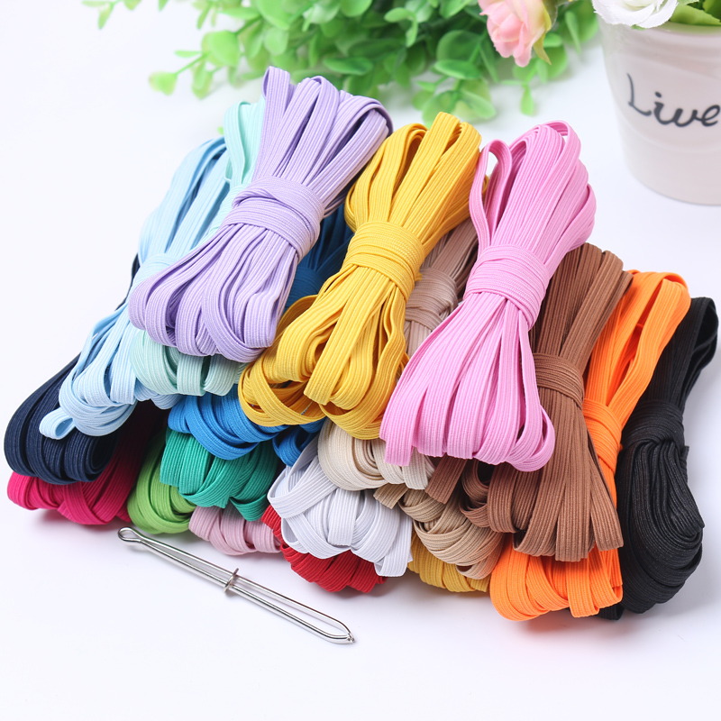 Colorful Elastic Bands 6mm Loose Rope Rubber Band Line Spandex Ribbon Sewing Lace Trim Waist Band Garment Accessory 5meter