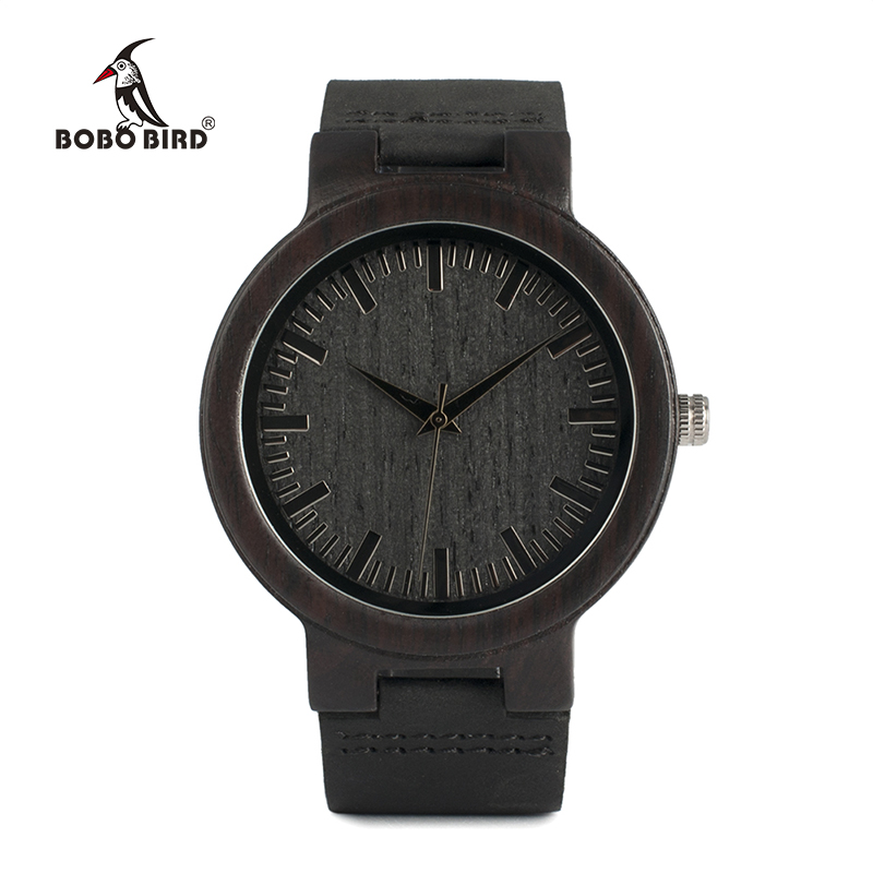 Image 2 - BOBO BIRD WC27 Mens Design Brand Luxury Wooden Bamboo Watches With Real Leather Quartz Watch in Gift Box accept OEM Customizewatch brandwatch designer brandswatch with -