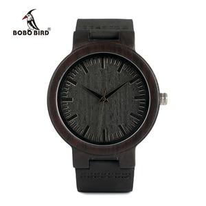 Image 2 - בובו ציפור WC27 גברים של עיצוב מותג יוקרה עץ במבוק שעונים עם עור אמיתי קוורץ שעון ב אריזת מתנה מקבלים oem אישית