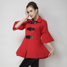 2016 set up new massive purple in autumn and winter knit cashmere woollen cloak lengthy in Europe 5 sleeves coat for Women