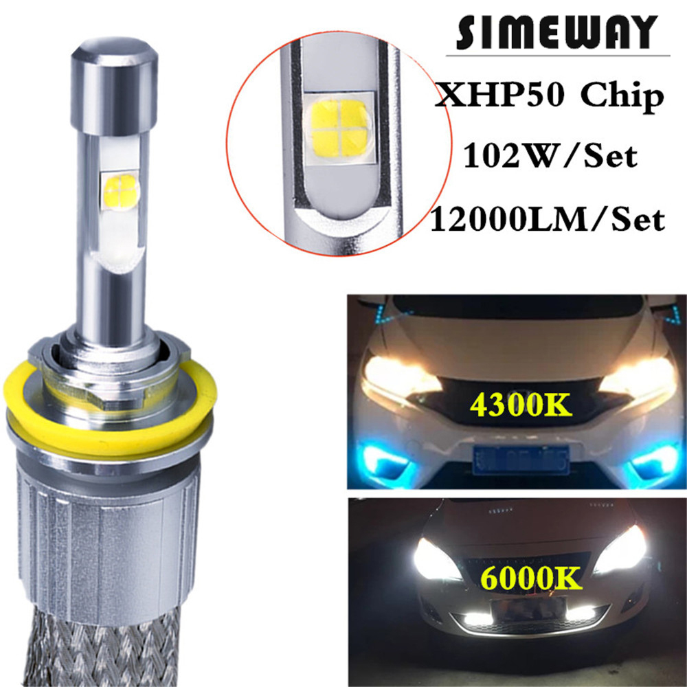 1Set H4 hi lo Car LED bulbs 104W 12000LM XHP50 Chips Auto LED Headlight Lamps 9005