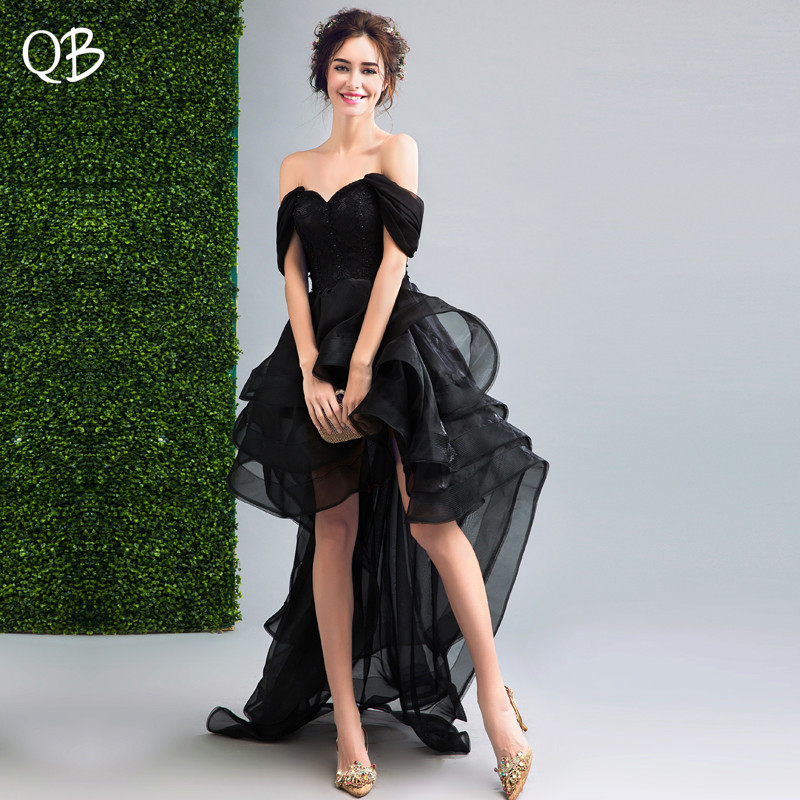 Black High Low Ball Gown Cap Sleeve Ruffle Tulle Sexy Luxury Short Evening Dresses 2019 New