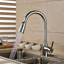 Новый из светодиодов кухонная раковина кран одной ручкой палуба гора водопроводной воды латунь