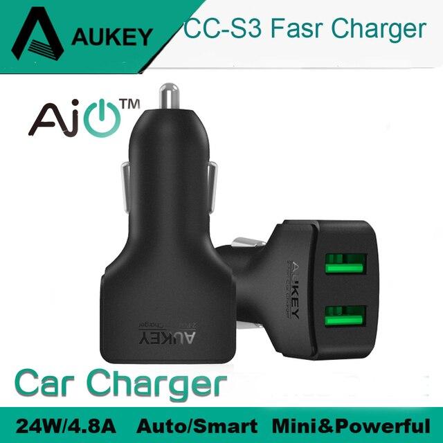 AUKEY автомобильное зарядное устройство 4.8A 2 порта микро авто мини двойной зарядное устройство USB для iPhone IPad Xiaomi и т. д. адаптер быстрой зарядки телефона в автомобиле