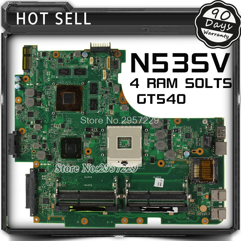 For Asus Motherboard N53S N53SN N53SM N53SV Rev 2.2 GT540 4Ram Solts N12P-GS-A1 100% Working S-6 n53s n53sv n53sn n53sm for asus motherboard n53sv mainboard gt540 n12p gs a1 4 ram solts tested ok