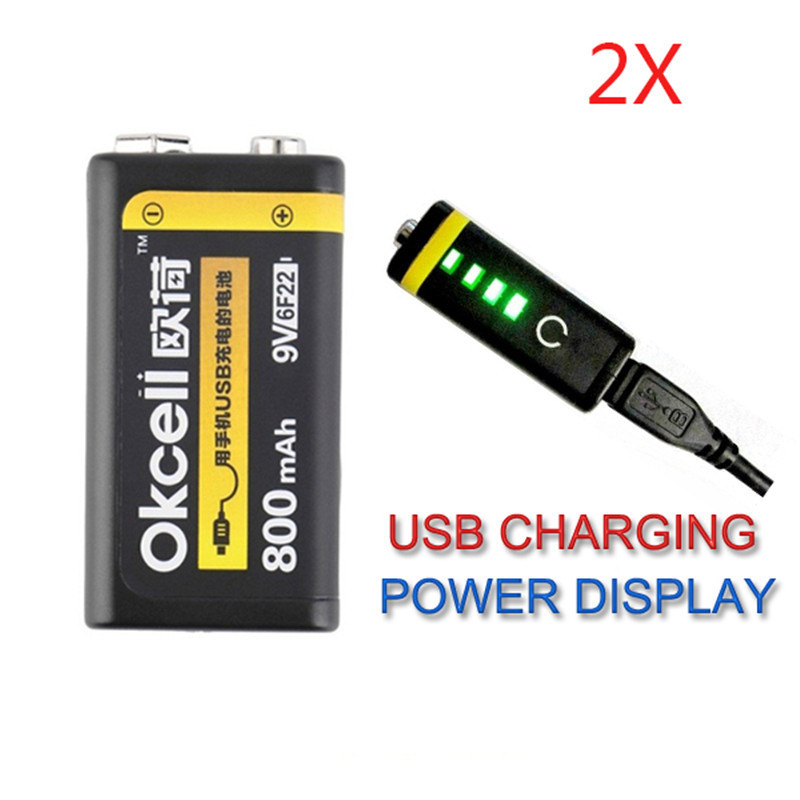 High Quality 2PCS OKcell 9V 800mAh USB Rechargeable Lipo Battery For RC Helicopter Model Microphone