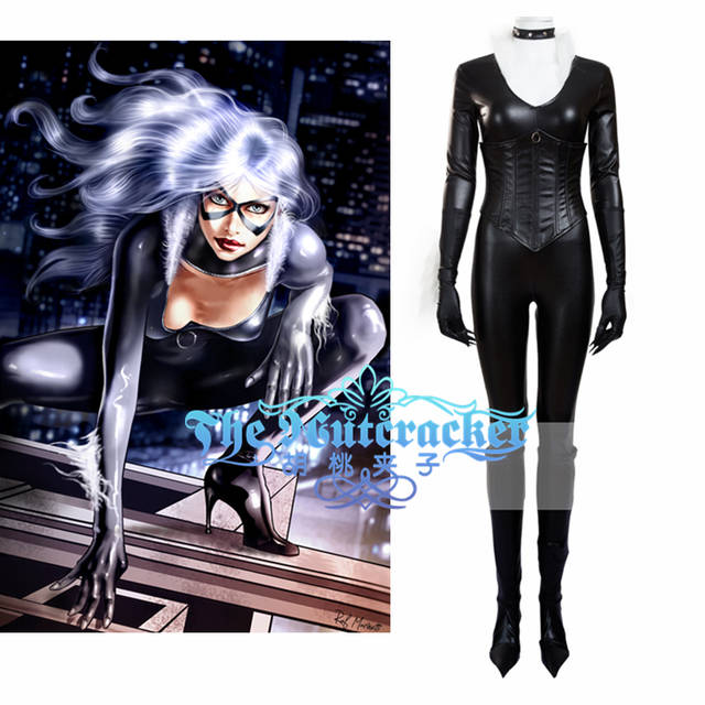 d5980f27cb18 Online Shop American Film Spider-Man Black Cat Cosplay Costume Adult Black  Jumpsuits with Boots Cover Corset Halloween Carnival Christmas