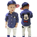 New Fashion Spring and Autumn New Korean Style Baby Child Lovely Cartoon + Dots Boys Long-sleeved Shirts YY0263 Free Shipping