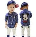 Nova moda primavera e outono novo estilo coreano bebê crianças dos desenhos animados encantadores + pontos meninos camisas de mangas compridas YY0263 frete grátis