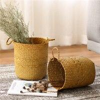 A1 Nordic handmade seaweed woven flower storage basket shopping basket flower pot decoration storage basket wx11011430