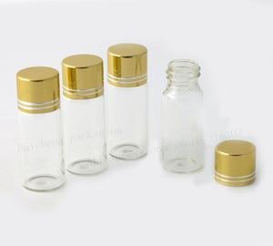 12ml Mini Clear Glass Bottle Gold Aluminum Screw Cap Container Borosilicate Vial Empty 500pcs