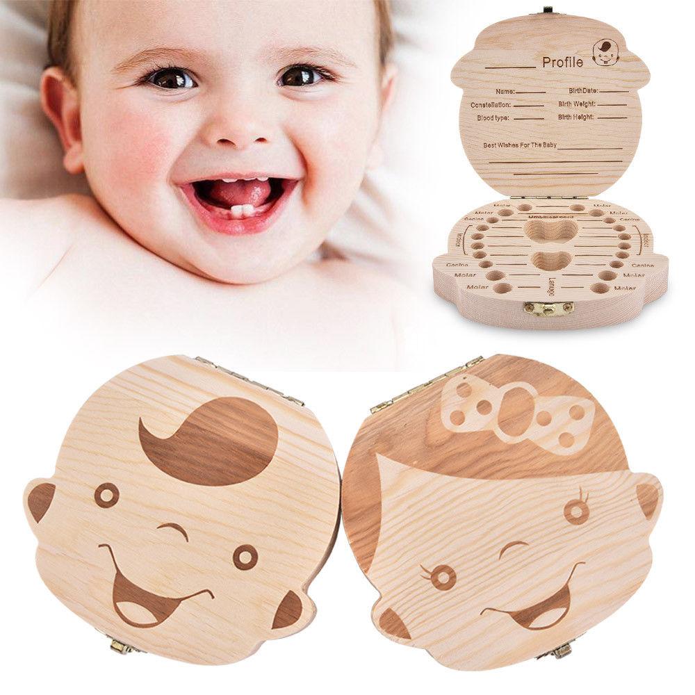 Wood Baby Tooth Box Organizer English Spanish German French Kid Children Milk Teeth Save Storage Lanugo Holder Case Toothbox