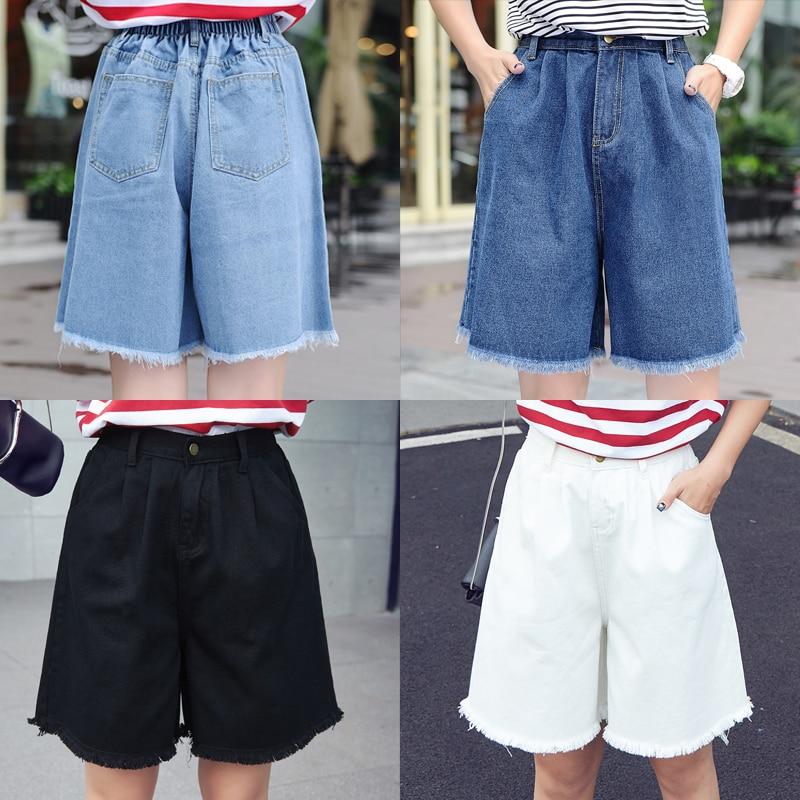 High Waist Denim Shorts Size 3XL Female Short Jeans for Women Half Long Summer Ladies Hot Shorts Solid Tassel Denim Shorts