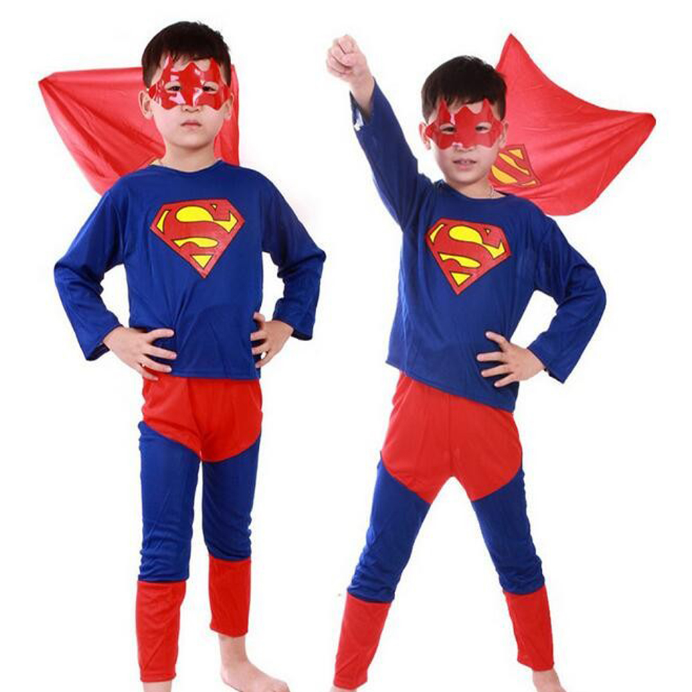 Kids Superman Costume: T-Shirt with Cloak & Trousers & Eyemask Boy Halloween Party Cosplay Costume