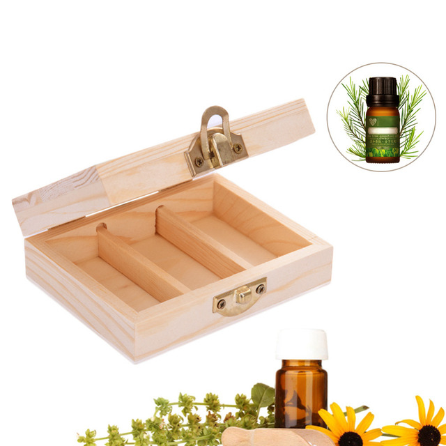 3 Compartments Storage Box Organizer For Storing Essential Oil Bottles essential oils storage case wooden boxes for cosmetics
