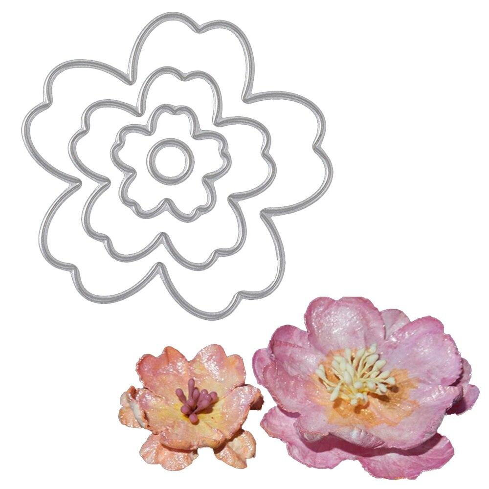 ٩(^‿^)۶4 Unids Flor Plantillas de Troqueles De Corte de Metal Para ...