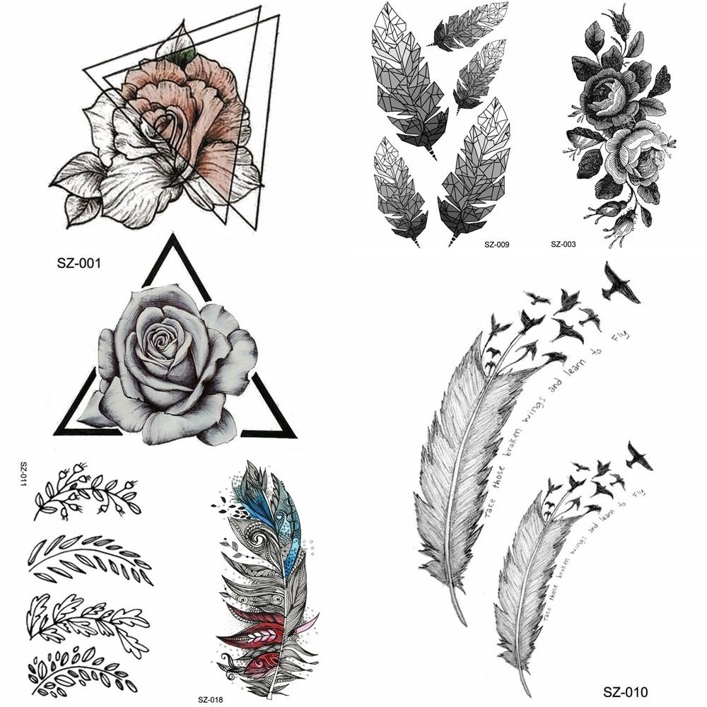 YURAN Black Triangle Flower Temporary Tattoo Stickers Women Body Arm Fake Tatoos Tribal Feather Bird Waterproof Rose Tattoo