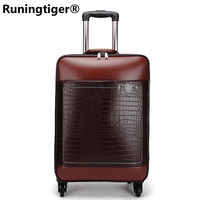 Luggage trolley case 24 inch men's luxury brand carry on luggage PU business luggage suitcase retro rolling waterproof suitcase