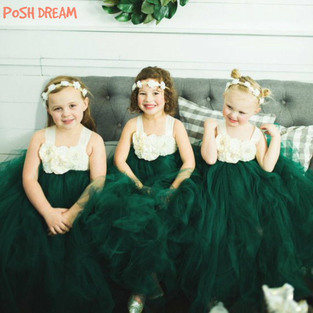0e7073e4460 POSH DREAM Dark Green Ivory Flower Girl Dress for Wedding Party Forest  Green Flower Girl Tutu Birthday Dress Kids Girls Clothes