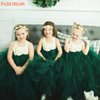 POSH DREAM Dark Green Ivory Flower Girl Dress for Wedding Party Forest Green Flower Girl Tutu Birthday Dress Kids Girls Clothes