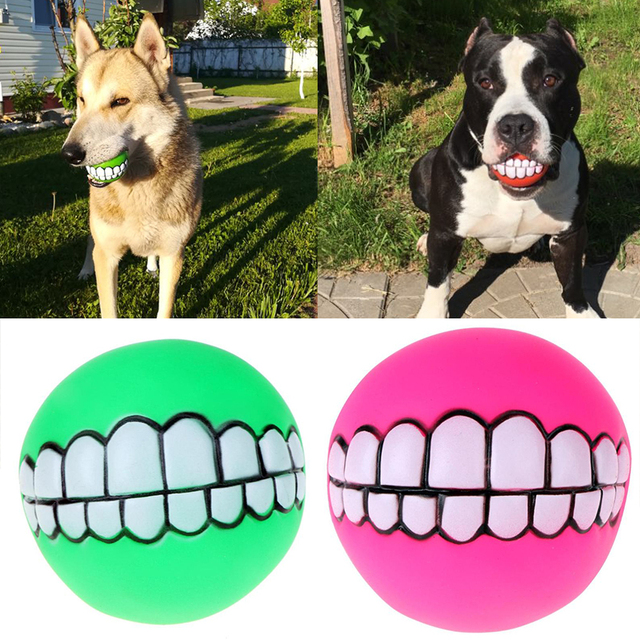 7 5cm Funny Pets Dog Teeth Toy Puppy Cat Ball Pvc Chew Sound Dogs