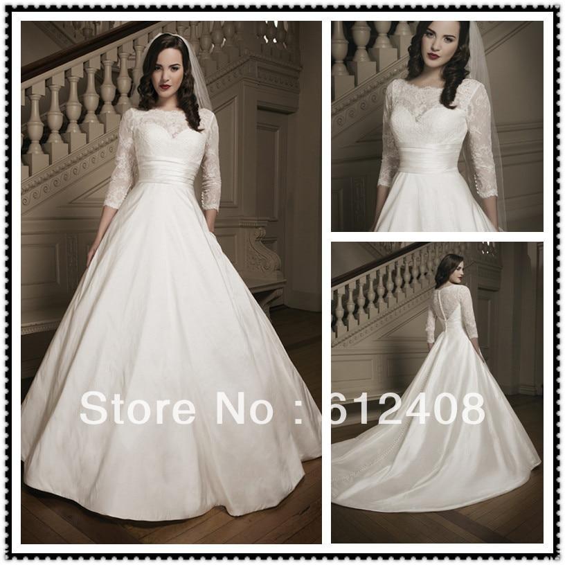 La10013 arablic long sleeve boat neck ball gown pleated for Boat neck long sleeve wedding dress
