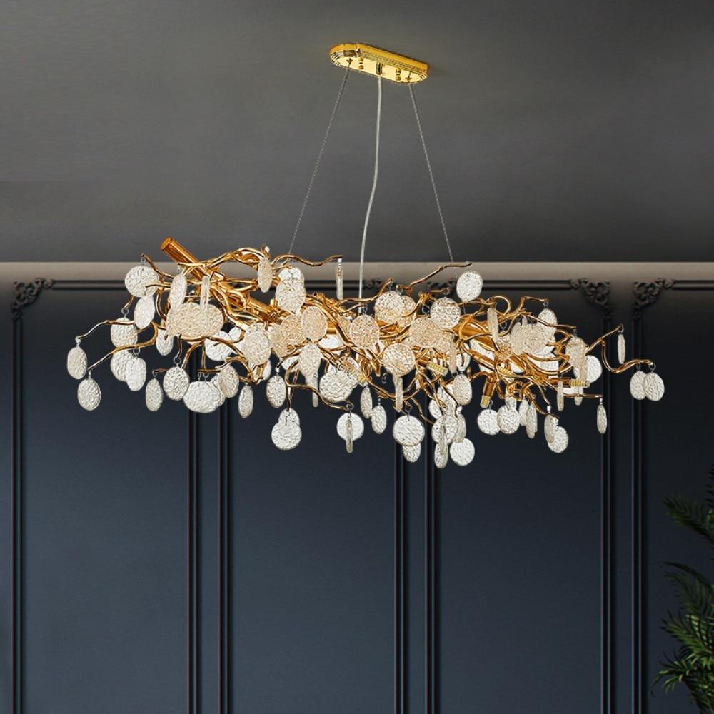 New Modern Crystal Lamp Gold Aluminum Tree Branch Lamp Living Room