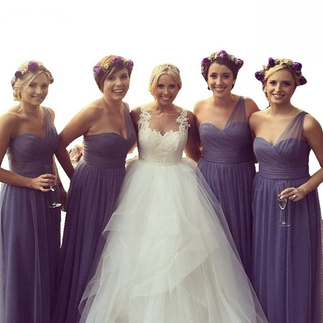 Lavender Color Sweetheart One Shoulder A Line Chiffon Pleated Bridesmaid Dresses Hot Court Train