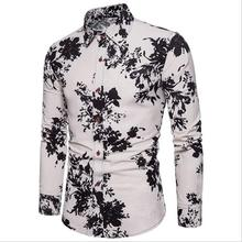 Plus size Flower Linen Shirts Men Long sleeve Floral Mens clothing Slim fit Casual Blouse Social Shirt