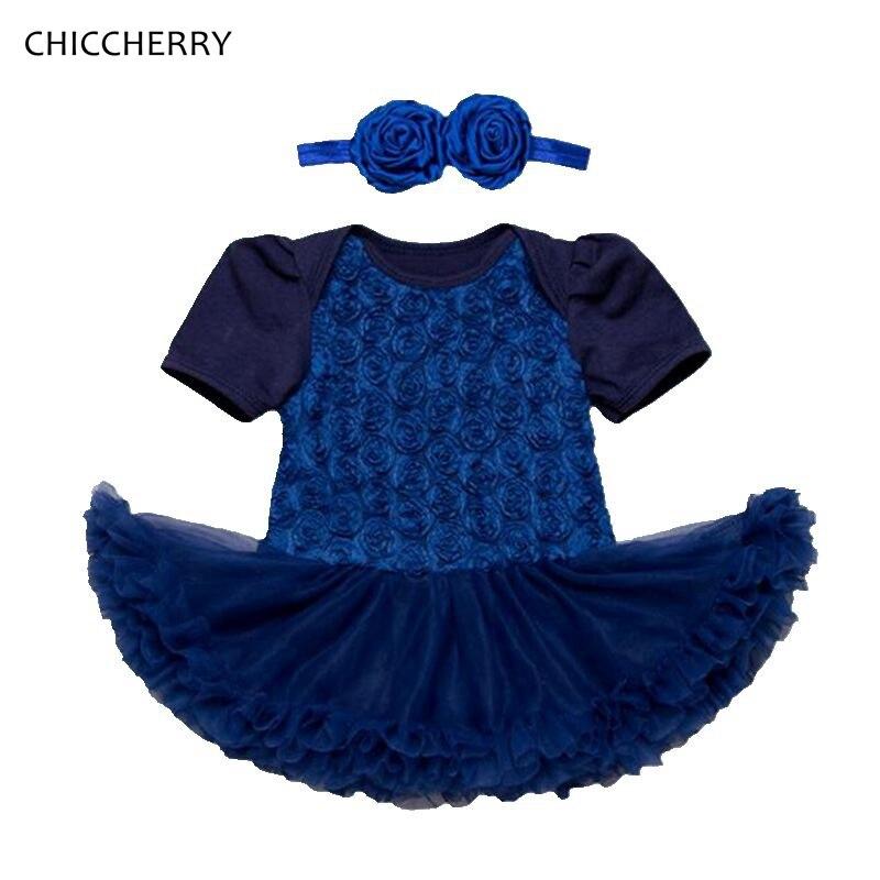 Royal Blue Newborn Girl Clothes Elegant Baby Wedding Dress