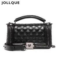 Jollque 2017 New Flap Bag Ladies Fashion Solid Crossbody Bags Women Handbag Over Shoulder Chain Messenger