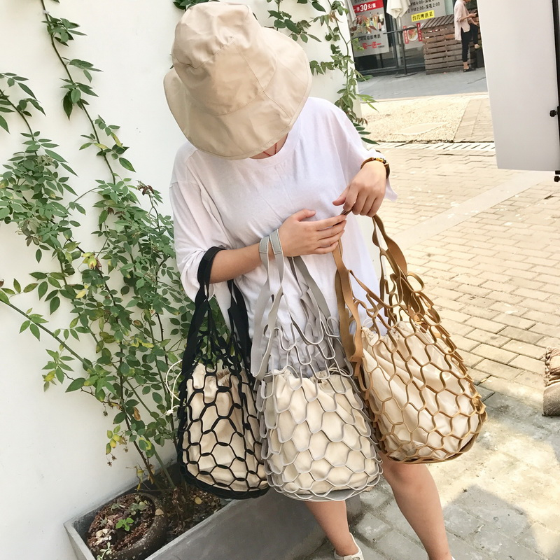 New Korean INS Hollow Out Mesh Leather Bags Summer Beach Bag Handbags Bucket Bag Leisure Large Capacity Fur Women Composite Bag