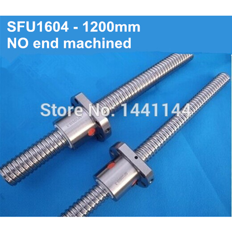 1pc SFU1604 Ball Screw 1200mm Ballscrews +1pc 1604 ball nut without end machined CNC parts free shipping 1pc sfu1604 ball srew 300mm ballscrews 1pc 1604 ball nut without end machined cnc parts