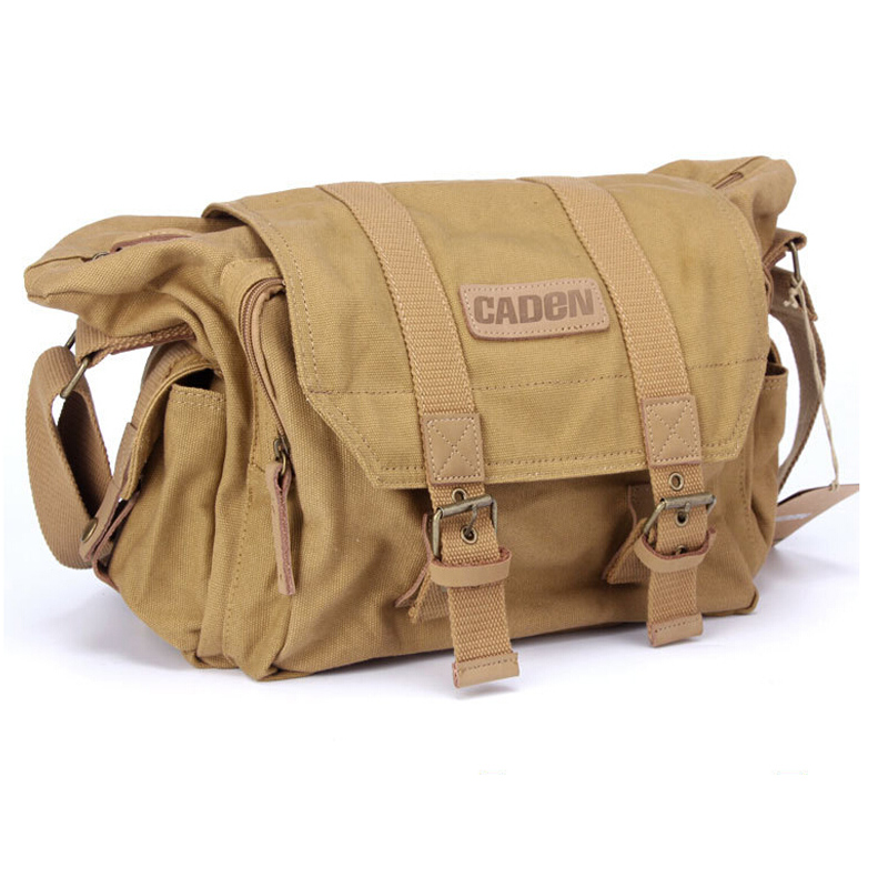 Caden Grewalker F1 Brown Vintage Canvas DSLR Camera Bag Case Shoulder Messenger bag for Nikon Sony Canon Pentax Fuji waterproof