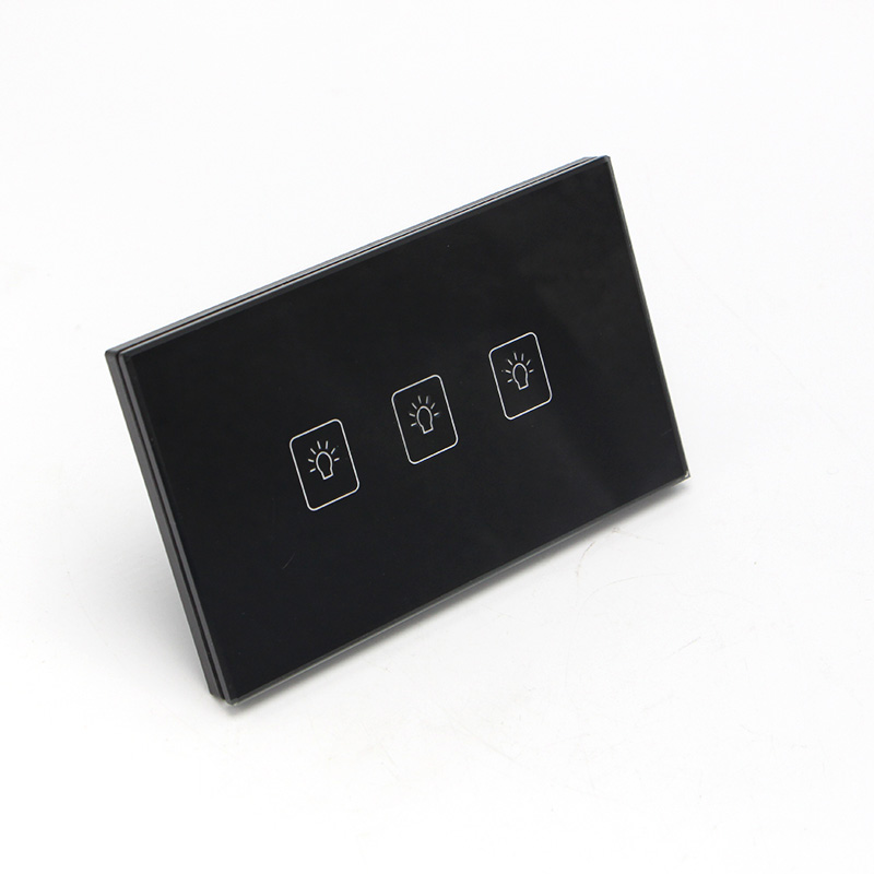 3 Gang 1 Way US/AU Standard Smart Touch Switch Crystal Glass Panel Wall Light Controler us au standard touch wall switch 1 gang with crystal tempered glass panel and blue led backlight