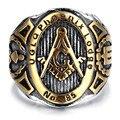 Hombres Anillo De Acero Inoxidable, Vintage, motorista, oro, negro, masónica KR2042