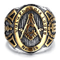 Mens Stainless Steel Ring, Vintage, Biker, Gold, Black, Masonic KR2042