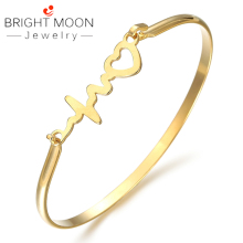 BRIGHT MOON  Trendy Women Accessories Silver Gold Bangle for Woman Stainless Twisted LOVE Loving Couple Baracelet