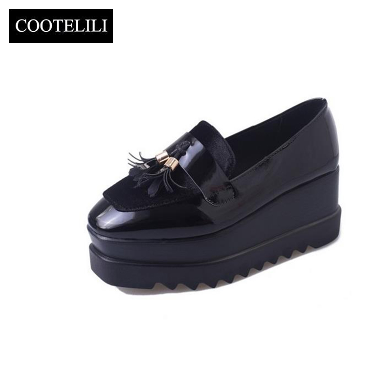 COOTELILI 35-39 Spring Casual Solid Flat Women Shoes Fring Soft Leather Slip-On Loafers Flat Platforms Square Toe Ladies Oxfords цена