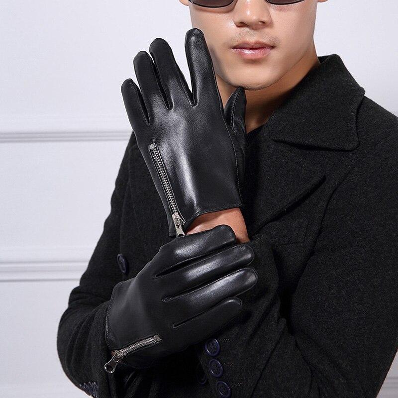 Fabricant discount gants en cuir en peau de mouton hommes équitation épaississement plus velours gants en cuir hommes plus velours épaississement
