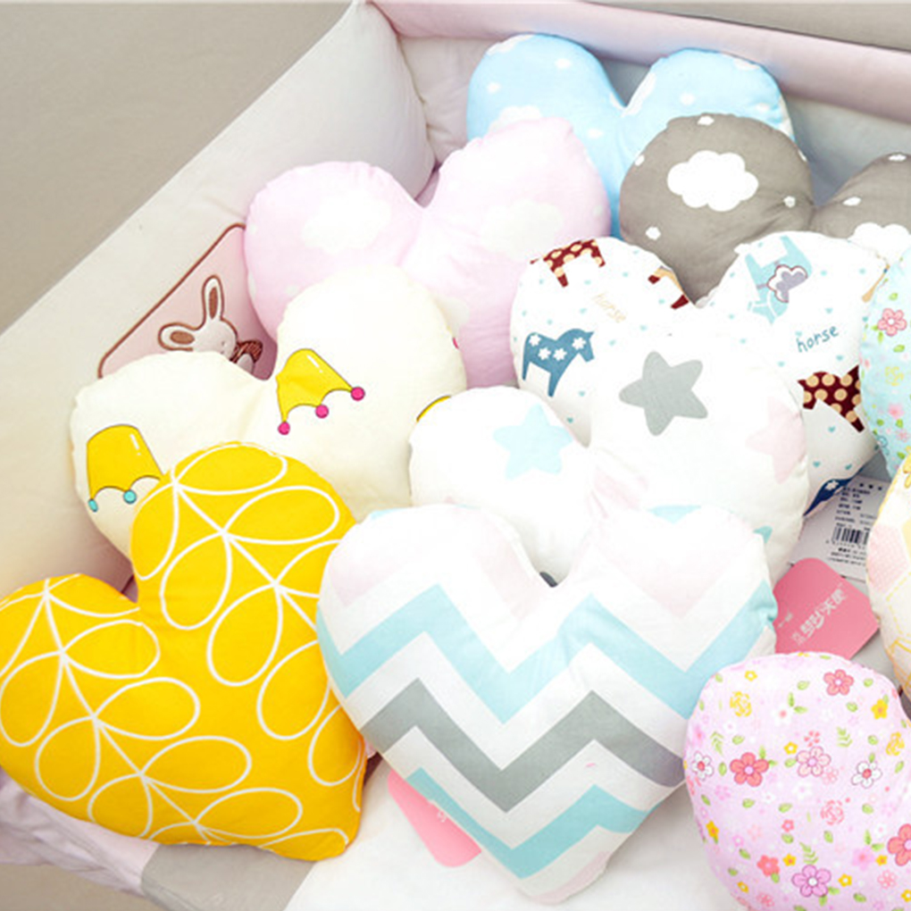 Heart Shape Baby Pillow Soft Newborn Infant Cotton Throw Cushion for Toddler Room Bedding Decoration