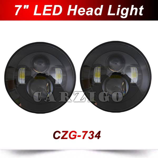 CZG734 7 headlamp DOT mark USA hot sale 7 inch round led headlight with hi/lo beam 40/30w for jeep wrangler for harley Davidson